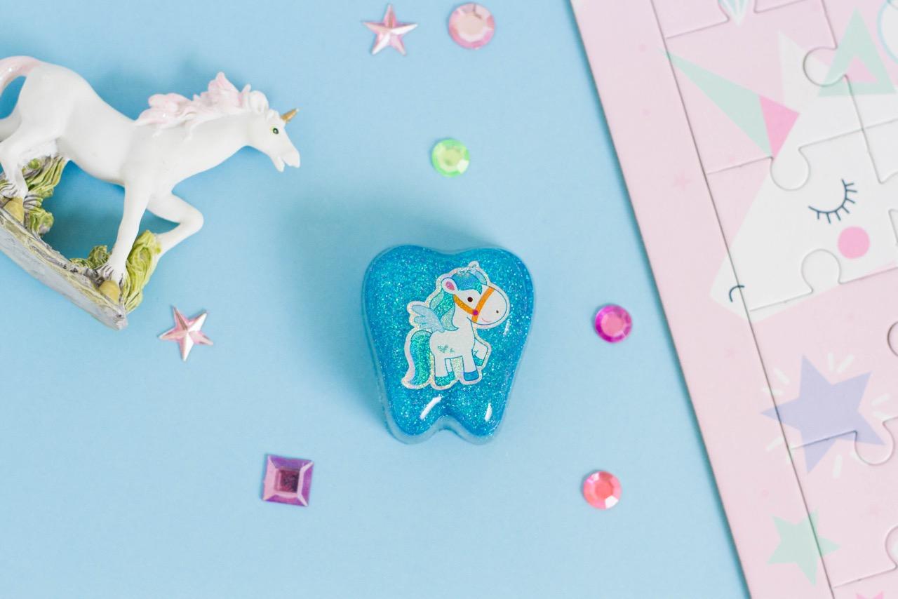 Blue Glitter Tooth Box