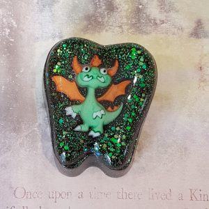 Green Dragon Black and Green Glitter Tooth Box