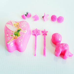 Pink Tooth Box and Pink Stud Earings, with Pink Fairy wands and a Pink Glitter Dinosaur
