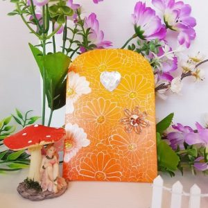 Orange Hand Painted Fairy Door