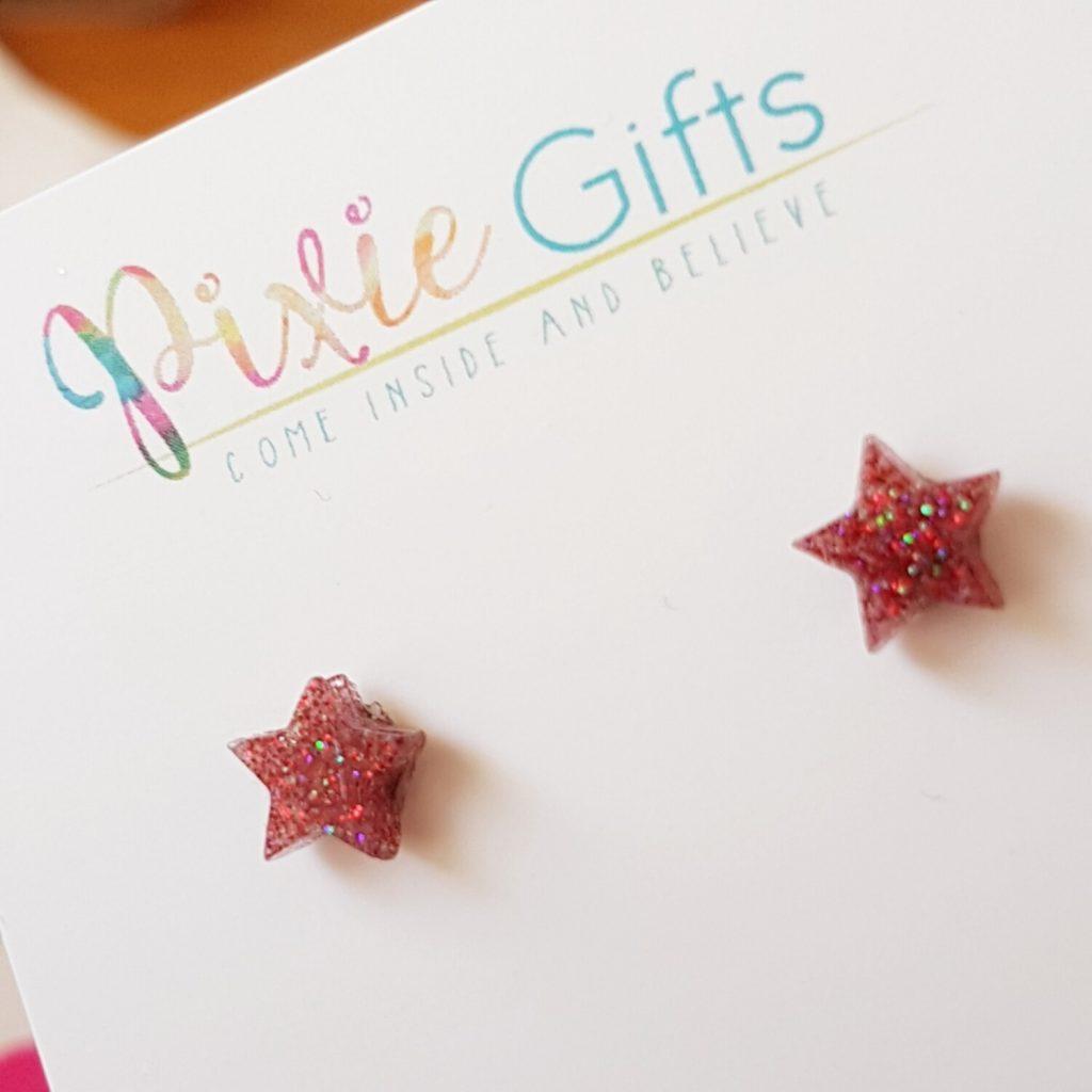 Red Glitter Star Earings